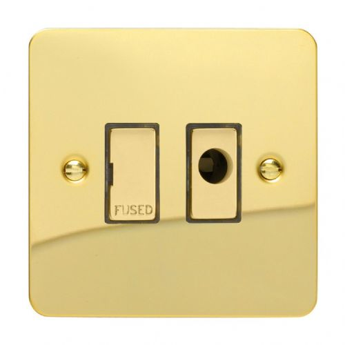 Varilight XFV6UFOD Ultraflat Polished Brass 1 Gang 13A Unswitched Fused Spur + Flex Outlet